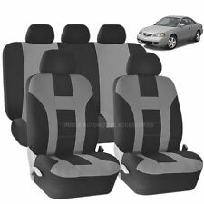 9PC DOUBLE STITCH GRAY & BLACK POLY SEAT COVERS SET for CARS 1021