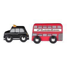 Tidlo London Double Decker Rosso Autobus e taxi nero in legno Set Veicolo