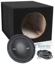 "Polk Audio MM1042DVC 10"" 1200w DVC Car Audio Subwoofer+Sealed Sub Box Enclosure"