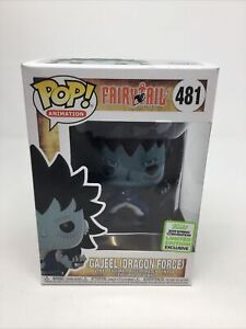 """FUNKO POP! ECCC EXCLUSIVE FAIRY TAIL GAJEEL DRAGON FORCE 3.75"""" #481 + PROTECTOR"""