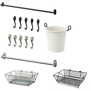 Ikea Fintorp Metal 57cm or 79cm Rail 7cm Hooks Rustic Kitchen rail Decor Set