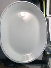 "Corelle By Corning White Oval Serving Platter Blue Line 12 1/4"""