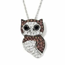 """VICTORIA WIECK STERLING ABSOLUTE PAVE """"OWL"""" PENDANT WITH 18"""" CHAIN NECKLACE HSN"""
