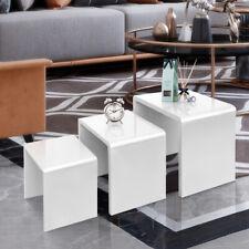 White Coffee Table Set 3 High Gloss Nested Side End Table Modern Living Room UK