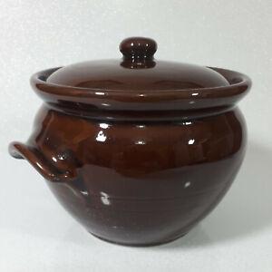 Vintage Pottery Glazed Brown Pot Farmhouse Casserole Dish with handles VGC