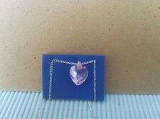 Avon Cicely Silver plated Necklace with pink facetted heart and pink stone mount