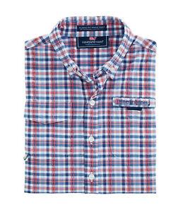 """Vineyard Vines """"Stretch Plaid"""" Performance Harbor Shirt, NWT - Boys L + XL  $65"""
