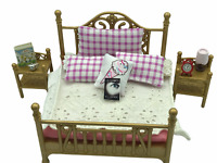 Calico Critters Sylvanian Families Luxury Brass Bed Vintage RARE HTF WITH PILLOW