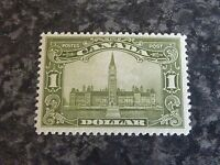 CANADA POSTAGE STAMP SG285 1 DOLLAR OLIVE GREEN VERY LIGHTLY-MOUNTED MINT