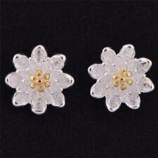 1pair Flower Silver Plated Ear Studs Earrings Women Elegant Jewelry TK Gold