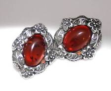 VINTAGE TRADITIONAL 925 SILVER FLORAL ORNATE AMBER  STUD  EARRINGS Rare / W 451