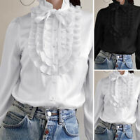 ZANZEA Women Long Sleeve Ruffled Shirt Tops Vintage Shirt Blouse Plus Size Tops