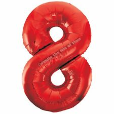 Large Balloon Number 8 Ruby Red