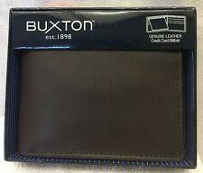 Buxton Genuine Leather ID Flipfold Wallet  Brown   NEW WITH BOX