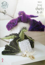 King Cole ChunkyToy Knitting pattern Dragon adult baby 9051
