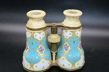 19th Century Antique French Enamel Binoculars Tiffany Blue & Gold Opera Glasses