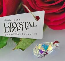 925 Sterling Silver Pendant ALMOND Crystal AB 16mm Crystals From Swarovski®
