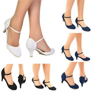 LADIES LACE EMBELLISHED LOW HEEL ANKLE STRAP FULL TOE SHOES WEDDING SIZES 3-8