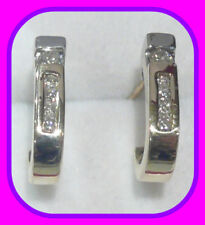 SOLID 9CT GOLD .25CT/12 QUALITY,SPARKLY DIAMOND HALF HOOP ENGLISH EARRINGS UK HM