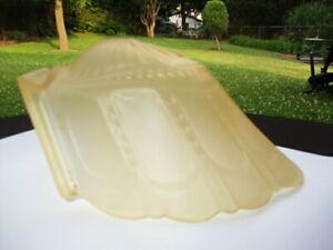 #2 - ART DECO 1910-20 AMBER SATIN GLASS SLIP SHADE SHELL WITH PEARL BEADING