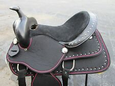 15 16 BARREL RACING COMFY PLEASURE TRAIL PINK BLACK SHOW HORSE WESTERN SADDLE