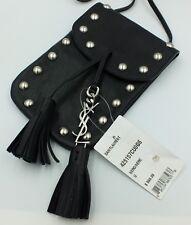 NWT Yves Saint Laurent Mini Crossbody Bag YSL Black Leather Studded Purse Tassel