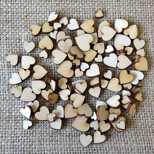 Wooden MINI MIXED HEARTS Natural Real Birchwood Embellishment Shapes for Craft