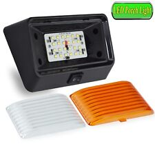 RV LED Porch Light rectangle clear amber lens camper RV trailer Black w/ switch