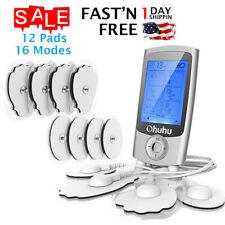 Tens Unit Pads 16 Modes Electric Stimulation Massage Machine w/12 Reusable Pads
