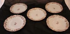 Set of 5 Older Haviland Limoges Blue with Gold Gilding Porcelain Plates