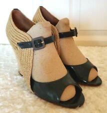Schutz Womens Size 9B Navy Patent Leather Raffia Open Toe Mary Janes Wedge Heels
