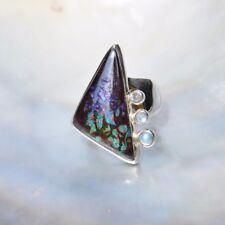 Boulderopal Ring, 925er Silber, Edelsteinring (21033), Opal, mit Mondstein