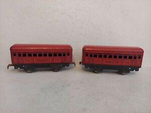 Pair Vintage Model Train Marx Red Pullman  #245 Bogota  #246 Montclair Passenger