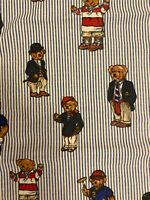 Vintage Ralph Lauren Polo Teddy Bear Full Double Queen Flat Sheet Striped blue