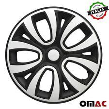 """15"""" Inch Wheel Rim Cover for Mercedes Matt Black with White Insert 4pcs Set"""