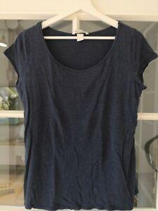H&M Mama Umstandsmode Stillshirt T-shirt In Gr M Blau Meliert