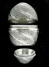 18thC silver EGG shaped POMANDER spice Box 2-section