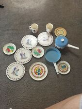 Vintage Play Dishes 80s Plates Pots Pans Smurf Holly Hobbie Plastic Kitchen