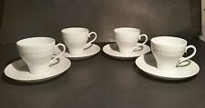 Hutschenreuther Lucina 4 Cups Mugs Saucers White Germany