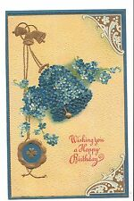 Vintage Postcard Happy Birthday Gold Bells Forget Me Not Flowers ALO Depose Emb
