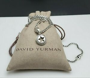 David Yurman Sterling Silver Lone Star Pendant Amulet with 2.7mm 22' Inch Chain