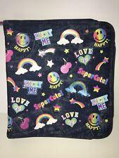 VTG RARE 80s 90s Lisa Frank Zipper 3 Ring Binder Faux Denim Jeans Stickers
