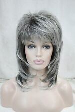 New medium length grey dark root layered shoulder long synthetic female full wig