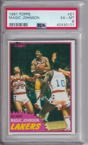 1981 81-82 TOPPS 2ND YEAR MAGIC JOHNSON LAKERS CARD SP #21 PSA EX MINT 6
