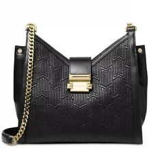 New NWT Michael Kors Whitney Quilted chain Leather shoulder bag Black gold