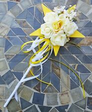 Flower-girl Floral Wand - Yellow Star Wand with Butterflies for Flower Girl Wand