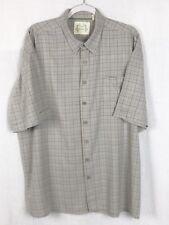 Green Bamboo Mens Button Front Short Sleeve Shirt Blue & Tan Plaid XL