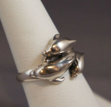 KABANA Sterling .925 Silver 3 Leaping DOLPHIN Sculpture Ring Size 6.25