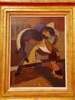 Avant Garde Russe A.Exter? Composition constructivisme, Huile sur panneau signée