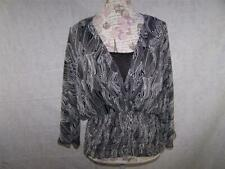 Allison Taylor Blouse With Inset Sheer Smocked Waist Black White Womens Large